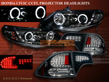 2006-11 HONDA CIVIC 4DR PROJECTOR HALO HEADLIGHTS CCFL G2+ BLACK LED TAIL LIGHTS