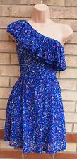 MISS SELFRIDGE BLUE PURPLE FLORAL FLARE FRILLY ONE SHOULDER SKATER DRESS 6 XS