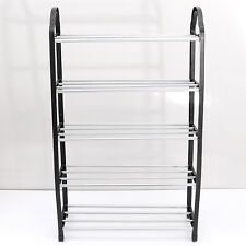 5 Tier Shoe Tower Rack Stand Organiser Storage Shelves Black Household Sturdy