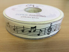 Music Themed Ribbon Reel full 20 Mtr Reel, Gift Wrapping, Scrapbooking, Crafts,