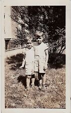Antique Vintage Photograph Two Cute Little Boys in Shorts Hugging in Backyard