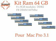  Kit Mémoire 64 GB (8x 8GB) DDR2  667MHz - FB-DIMM pour Mac Pro 3.1 Early 2008