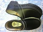 Dutch Leather Wooden Clog Shoe Black