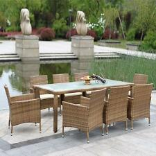 9pc Rattan Outdoor Dining Set Chairs Table Pool Garden Yard Patio Furniture G3H1