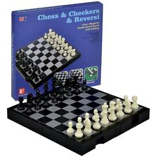 US 9-7/8``Portable Travel 3in1  Magnetic Tournament  Chess Checkers Reversi Set