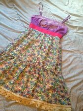 Flying Tomato Dress Anthropologie S Empire Waist Purple Yellow Floral Embroidery