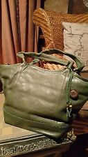 The SAK olive color 2 handles large leather tote/shopper bag with zipper closure