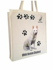 German Shepherd White Natural Cotton Bag with Gusset & Long Handles Perfect Gift