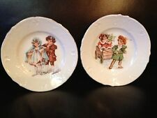 2 Antique Collectibles Ceramic Hand Painted Boy and Girl Plates 5""