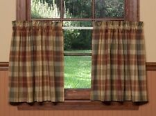 UNLINED TIER CURTAINS 72WX36L SAFFRON COUNTRY RED SAGE GREEN GOLDEN TAN PLAID