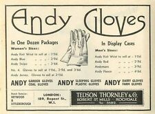1953 Tedson Thornley Robert St Mills Rochdale Andy Gloves Ad
