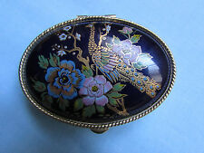 FAB ENAMEL AND METAL OVAL TRINKET PILL BOX WITH PEACOCK AND FLOWERS DESIGN