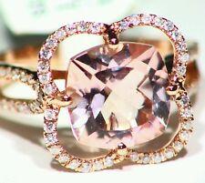 4.39CT 14K ROSE GOLD NATURAL MORGANITE WHITE DIAMOND VINTAGE ENGAGEMENT RING