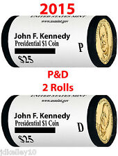 2015 P&D JOHN F. KENNEDY 2x$25 PRESIDENTIAL DOLLAR COIN US MINT ROLL TWO ROLLS