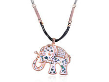 Multicoloured Patterned White Tone Rhinestone Studded Elephant Trek Necklace