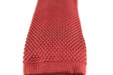"""New Solid Knit Knitted Neck Tie Woven Slim Square 2.5"""" 57 inches Burgundy Red"""