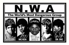 ICE CUBE & MC REN & EAZY E & YELLA & DR DRE - NWA SIGNED A4 PP POSTER PHOTO