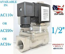 1/2 Stainless Steel Solenoid Valve Electric Normally Closed Water Gas Air Ro