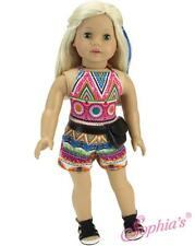 "High Waist Shorts and Matching Print Tank Top Set fit 18"" American Girl Doll"