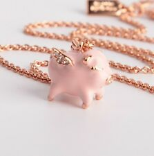 Kate Spade Mini Crystal Flying Pink Pig Pendant Necklace