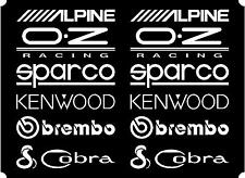 12 Matt White Car Door Stack  Sponsor Logo Stickers,Graphics,Decals set 2