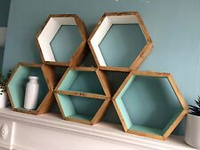 5 HEXAGON WOODEN SHELVES HANDMADE SCANDI DISPLAY GEO RETRO SHELF