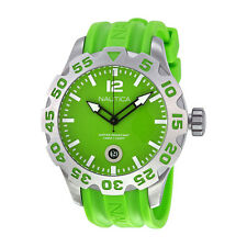 Nautica BFD 100 Green Dial Green Resin Strap Mens Quartz Watch N14605G
