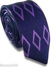 Navy Blue Skinny Slim Retro Tie with Purple Diamond Design Pattern