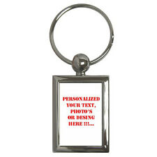 New Personalized Custom Your Logo Design Photo Text  Key Chain Rectangle