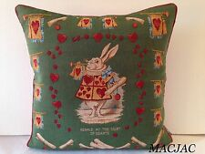 "Alice In Wonderland/Heart Rabbit 19""x19"" Tapestry Pillow NWT"