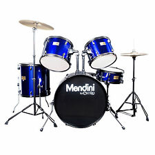 MENDINI BLUE 5 PIECE COMPLETE ADULT DRUM SET POPLAR SHELL W/ CYMBAL & HARDWARE