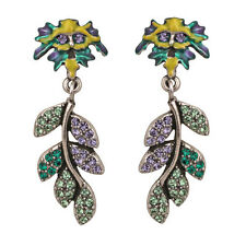 NEW KIRKS FOLLY ENCHANTED FOREST GREEN MAN PAVE LEAF PIERCED EARRINGS