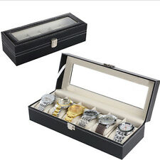 6 Grid Leather Storage Jewelry Box Collection Organizer Watch Case Displa Black