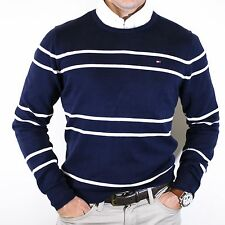 NWT Tommy Hilfiger 100% Cotton Navy Crewneck Striped Sweater Size M Elegant
