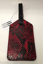 ili Italian Python Print Leather Luggage ID Tag for Travel Red/Black 6422