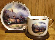 Thomas Kincade Moonlight Cottage Collector Plate and Teacup Set Teleflora Gift