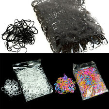 1000x Mix Color Baby Girl's TPU Rubber Hair Bands Holders Elastics Tie Gum Black