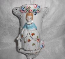 Vintage 1930's Detailed Porcelain Victorian Girl Figure Wall Pocket  JAPAN