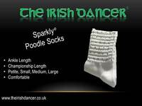 Sparkly White Championship Length Diamonted Poodle Socks - Irish Dancing
