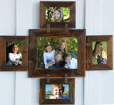 Rustic Country Barn Wood 5-Picture Collage Photo Frame (Holds 1-8x10 & 4-4x6)