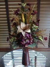Silk Floral Arrangement Purple Hydrangeas Cosmos Beige Tan Lilies Brown Vase