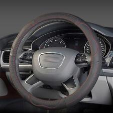 Car Genuine Leather Steering Wheel Cover 38cm Auto SUV Wheel Wrap Cover Black