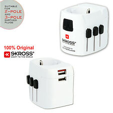 SKROSS Original PRO Light USB Travel Adapter Suitable for 2-Pole and 3-Pole