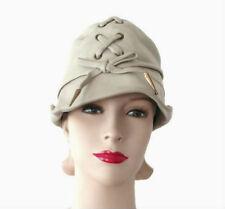 Rare Vintage 60's - 70's Yves Saint Laurent Pale Gray Beige Leather Hat