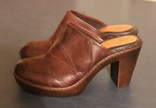 NURTURE ALESSIA women's BROWN LEATHER fashion MULES Clogs HEELS SZ 8M