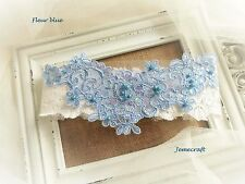 WEDDING GARTER 'FLEUR' IVORY LACE BLUE CRYSTAL BEADED PEARL VINTAGE BRIDAL GIFT