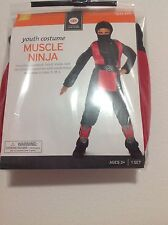 Boys Youth Child Muscle Ninja Costume Size 4-6 New!