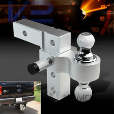 "2"" Reveiver Raise Drop Adjustable Aluminum Hitch Dual Ball Mount Tow Hook+Lock"