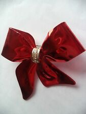 "Vintage Unsigned  ""Glossy Red/Clear Rhinestone Bow"" Brooch/Pin   Large"