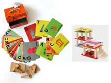 A-Z FLASH CARDS W/ WOODEN BLOCKS SET EDUCATIONAL KIDS TODDLERS STAKING BUILDING